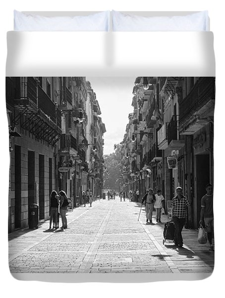 Calle Mayor, Pamplona, Spain.  #fuji Duvet Cover