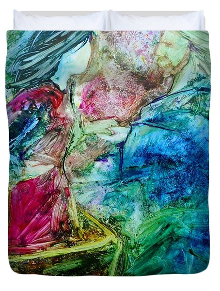 Duvet Cover featuring the painting Called Out Of The Boat by Deborah Nell