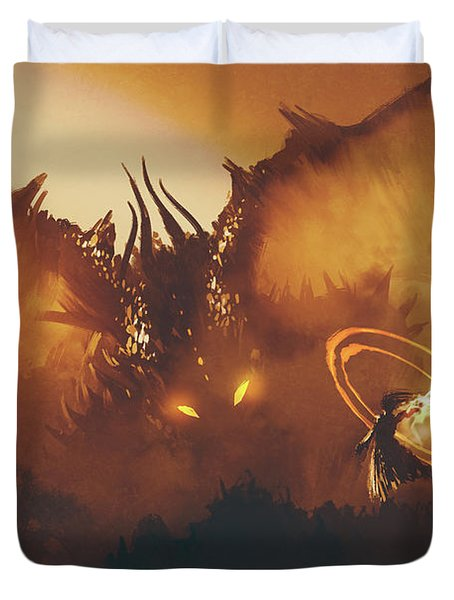 Calling Of The Dragon Duvet Cover