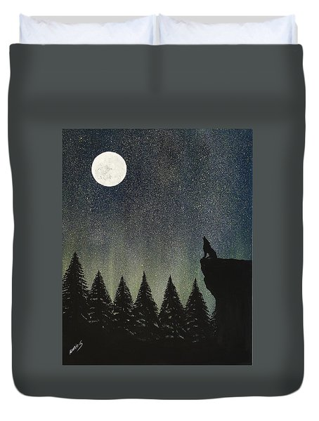 Duvet Cover featuring the painting Calling The Moon by Edwin Alverio