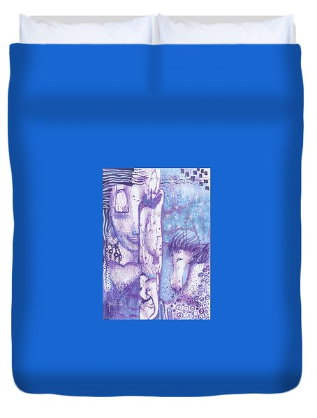 Duvet Cover featuring the mixed media Calling Upon The Spirit Animals by Prerna Poojara
