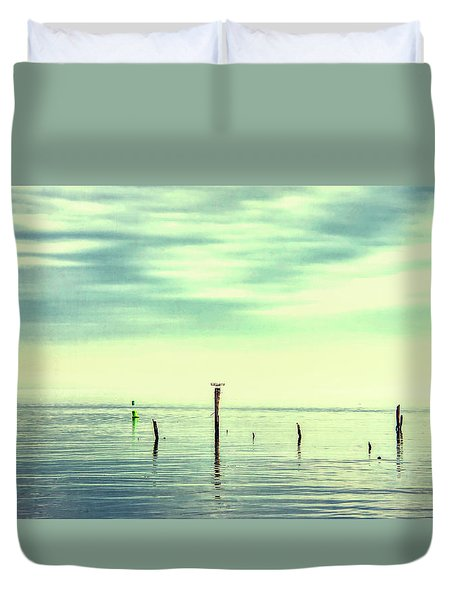 Duvet Cover featuring the photograph Calm Bayshore Morning N0 1 by Gary Slawsky
