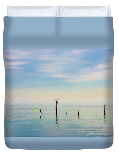Duvet Cover featuring the photograph Calm Bayshore Morning N0 2 by Gary Slawsky