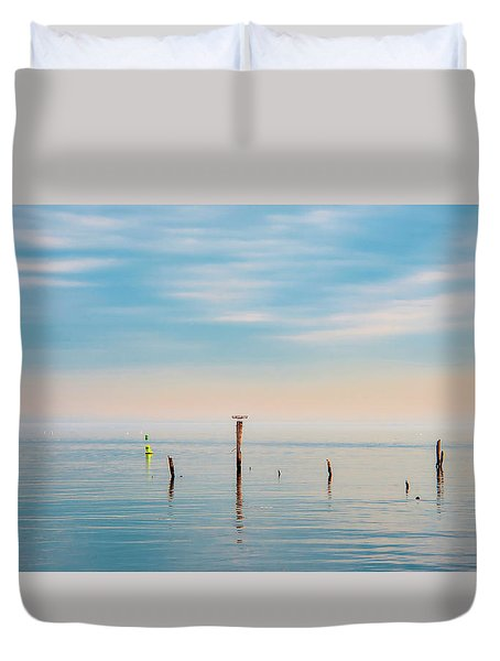 Duvet Cover featuring the photograph Calm Bayshore Morning N0 3 by Gary Slawsky