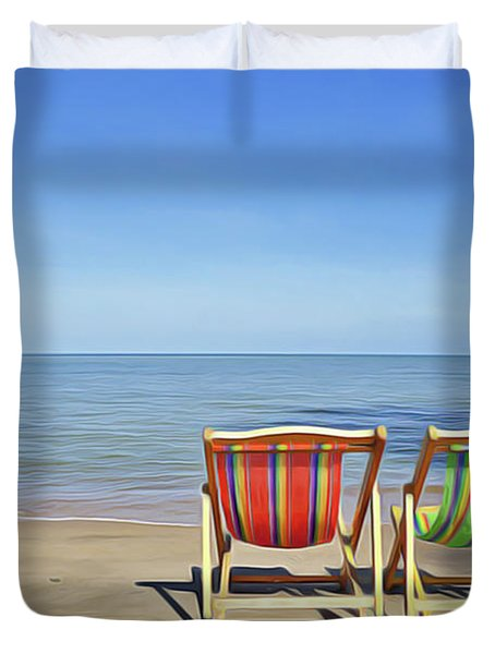 Duvet Cover featuring the painting Calm Beach by Harry Warrick