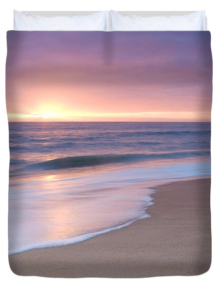 Calm Beach Waves During Sunset Duvet Cover
