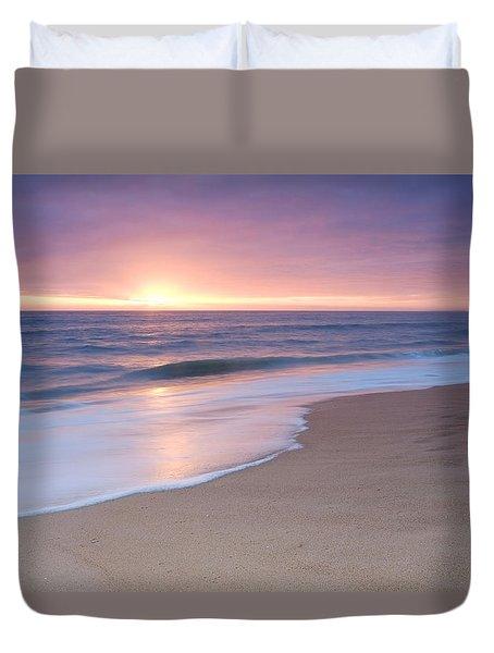 Calm Beach Waves During Sunset Duvet Cover