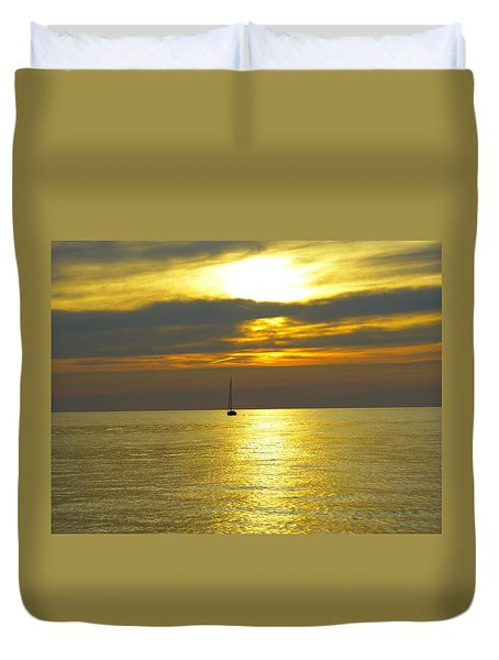 Calm Before Sunset Over Lake Erie Duvet Cover by Donald C Morgan