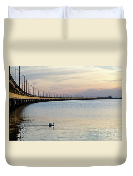 Calm Evening By The Bridge Duvet Cover