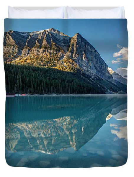 Calm Lake Louise Reflection Duvet Cover