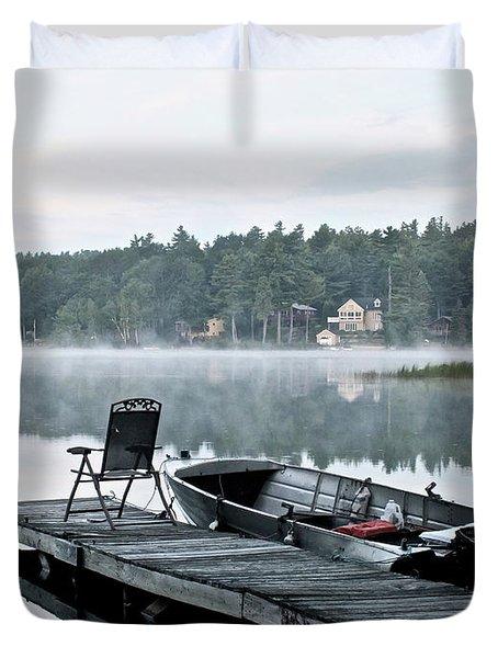 Calm Morning On Little Sebago Lake Duvet Cover