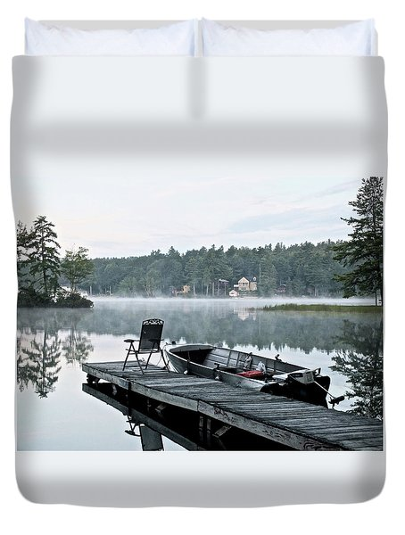 Calm Morning On Little Sebago Lake Duvet Cover