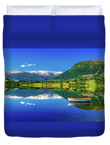 Duvet Cover featuring the photograph Calm Morning On Lonavatnet by Dmytro Korol