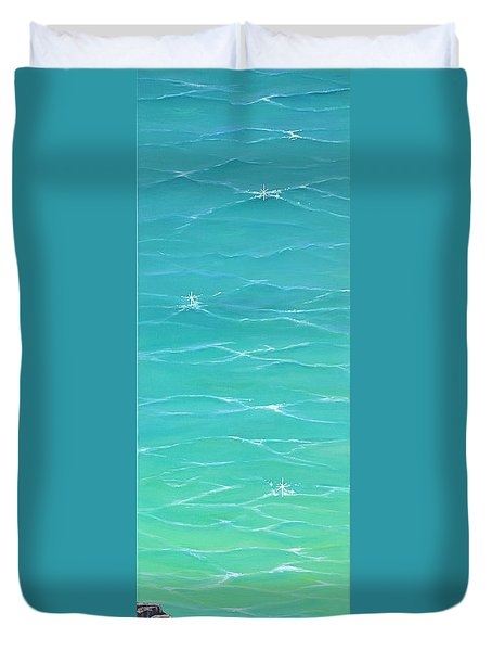 Duvet Cover featuring the painting Calm Reflections II by Mary Scott