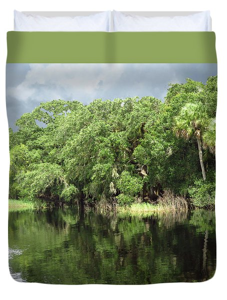 Calm River Reflections Duvet Cover by Rosalie Scanlon