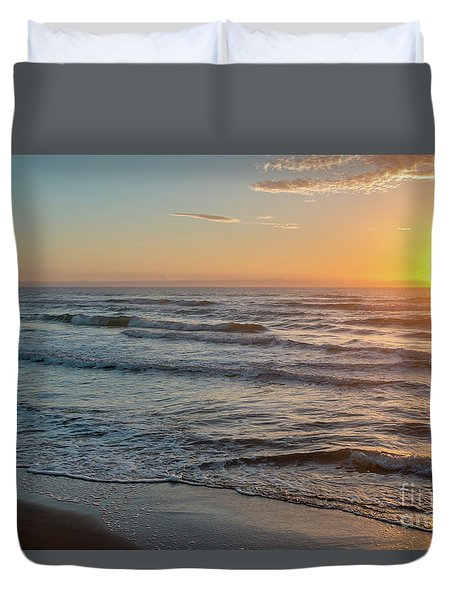 Calm Water Over Wet Sand During Sunrise Duvet Cover
