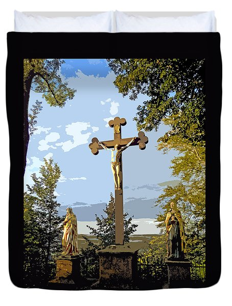Duvet Cover featuring the photograph Calvary Group - Parkstein by Juergen Weiss