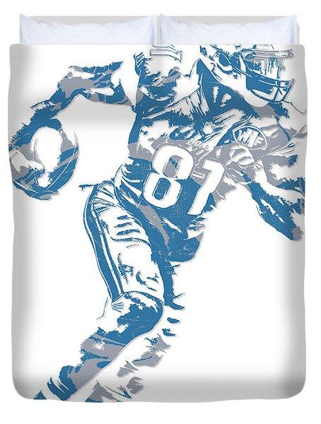 Calvin Johnson Detroit Lions Pixel Art 7 Duvet Cover