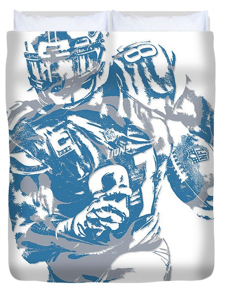 Calvin Johnson Detroit Lions Pixel Art 8 Duvet Cover