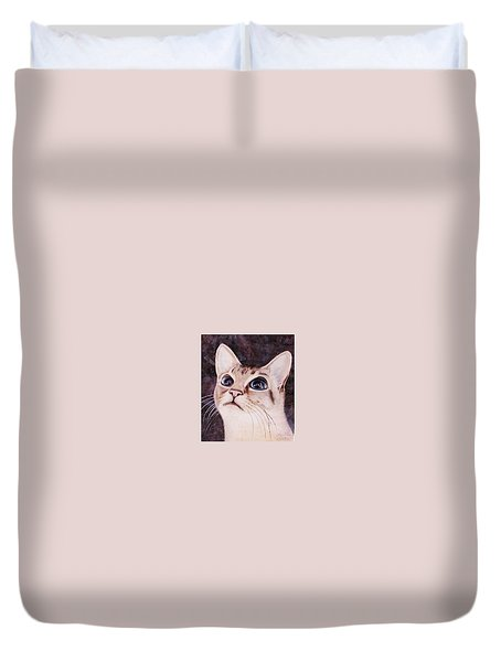 Duvet Cover featuring the painting Calvin The Cat by Martha Ayotte