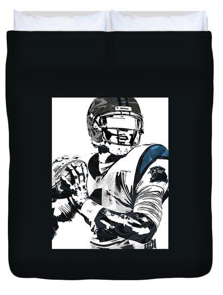Duvet Cover featuring the mixed media Cam Newton Carolina Panthers Pixel Art 3 by Joe Hamilton