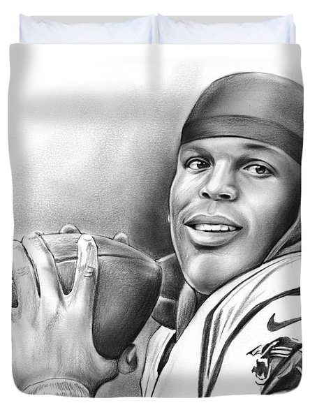 Cam Newton Duvet Cover by Greg Joens