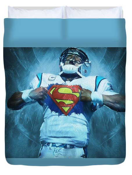 Cam Newton Superman Duvet Cover by Dan Sproul