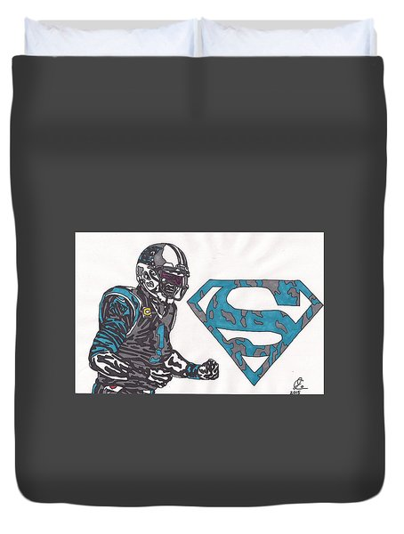 Cam Newton Superman Edition Duvet Cover by Jeremiah Colley
