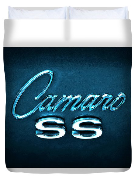 Duvet Cover featuring the photograph Camaro S S Emblem by Mike McGlothlen