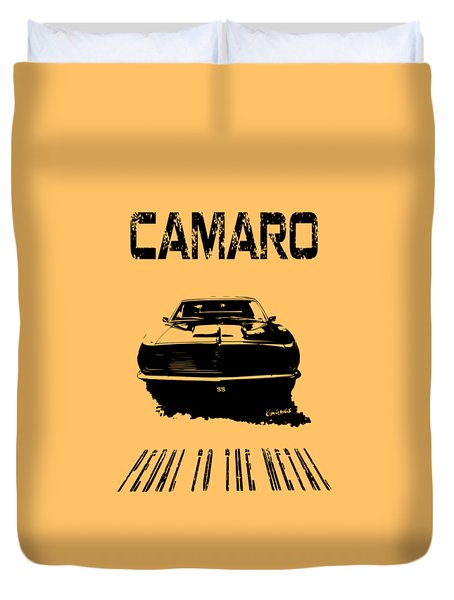 Camaro Ss - Pedal To The Metal Duvet Cover by Kim Gauge