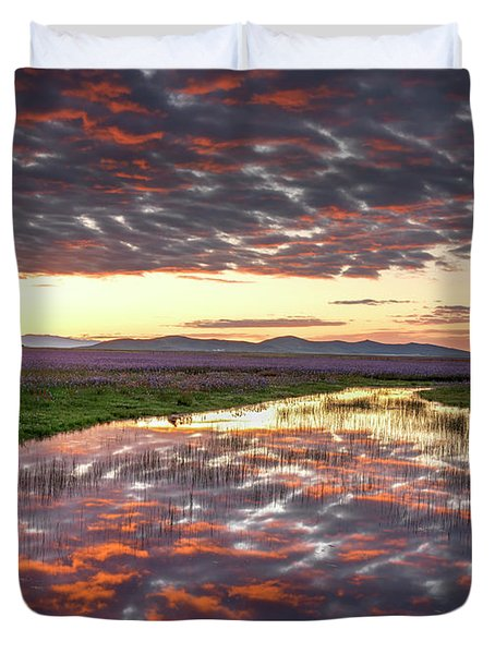 Duvet Cover featuring the photograph Camas Spring Sunrise by Leland D Howard