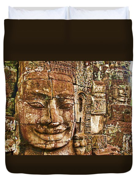Cambodia Faces  Duvet Cover by Dennis Cox WorldViews