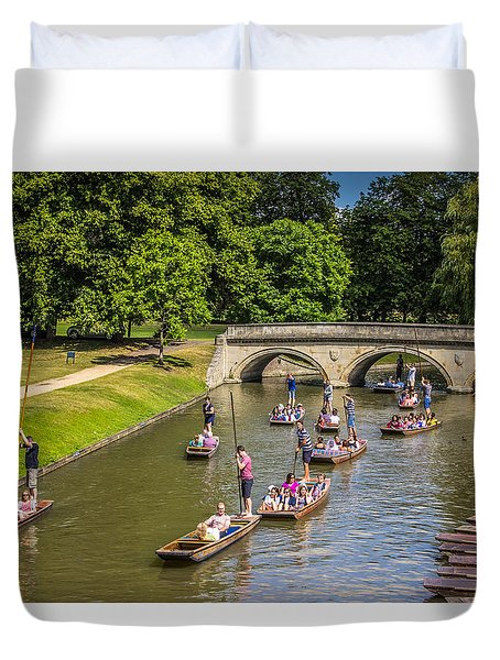 Cambridge Punts Duvet Cover by David Warrington