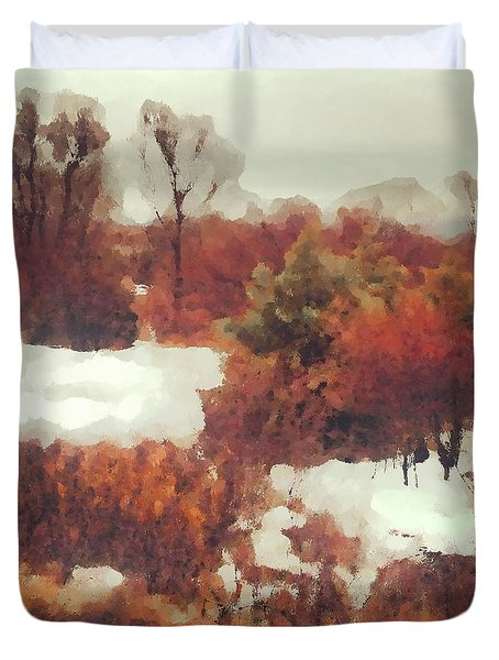Duvet Cover featuring the digital art Came An Early Snow by Shelli Fitzpatrick