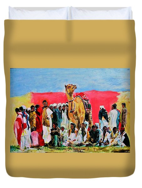 Camel Festival Duvet Cover by Khalid Saeed