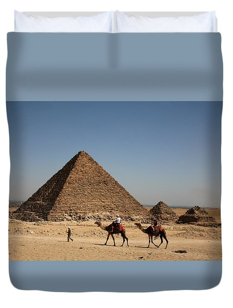 Camel Ride At The Pyramids Duvet Cover