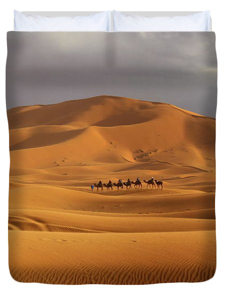 Duvet Cover featuring the photograph Camel Trek by Ramona Johnston