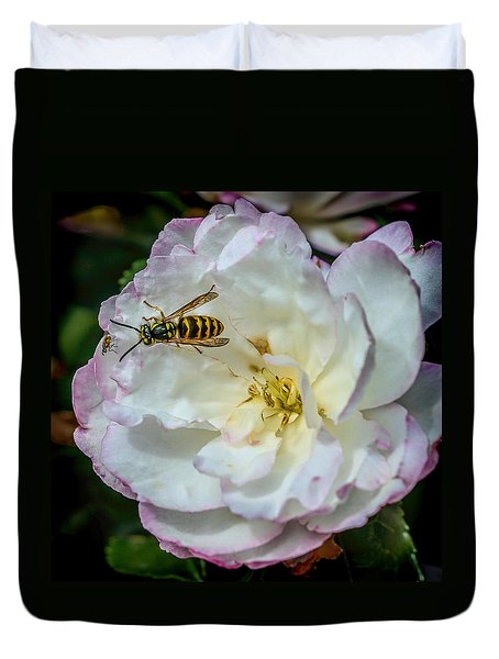 Duvet Cover featuring the photograph Camelia With Company by Susi Stroud