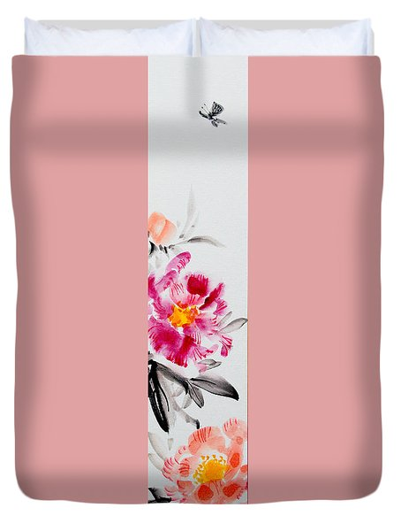 Camellia And Butterfly Duvet Cover
