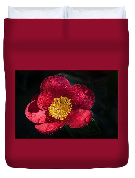 Camellia In Rain Duvet Cover by Catherine Lau