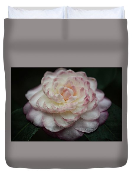 Camellia White And Pink Duvet Cover
