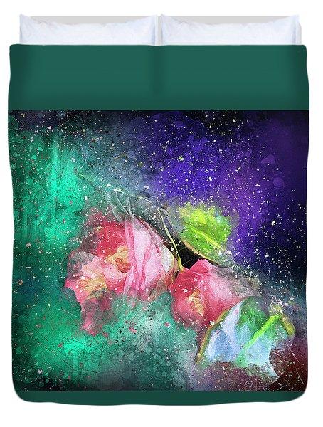 Camellias In A Galaxy Far Far Away Duvet Cover