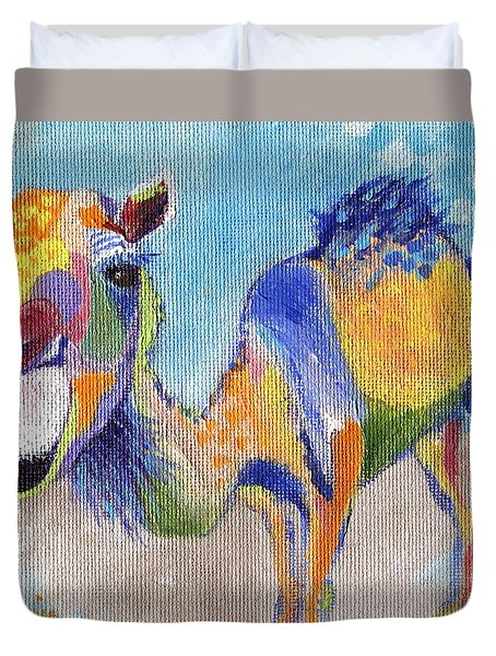 Duvet Cover featuring the painting Camelorful by Jamie Frier