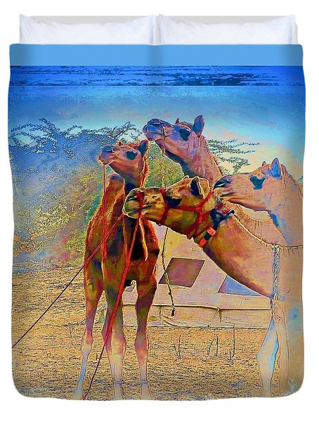 Camels Hanging Out India Rajasthan Desert 6a Duvet Cover