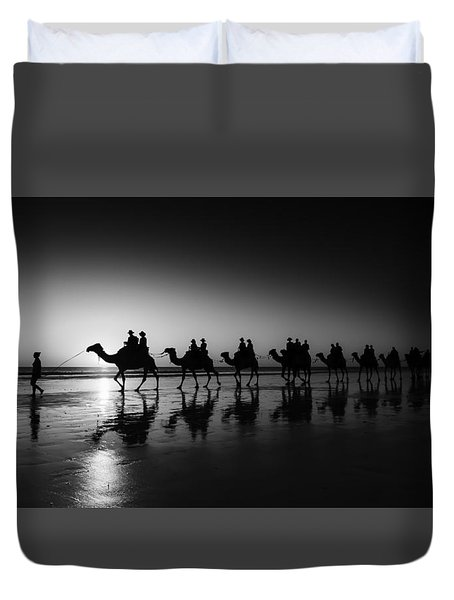 Camels On The Beach Duvet Cover