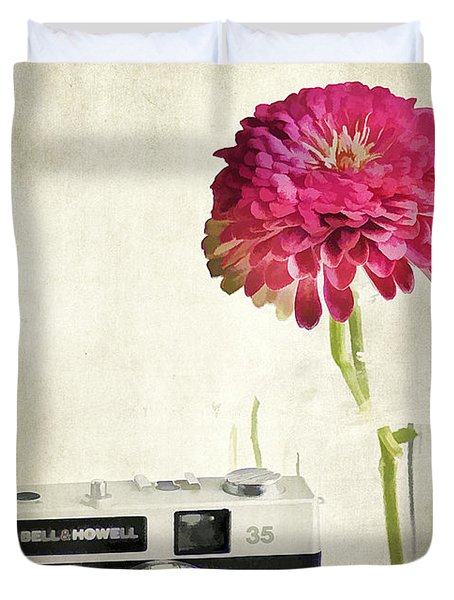 Camera And Flowers Duvet Cover by Darren Fisher