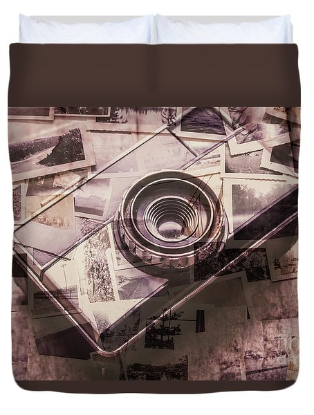 Camera Of A Vintage Double Exposure Duvet Cover