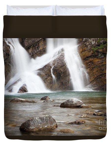 Cameron Falls In Waterton Lakes National Park Duvet Cover