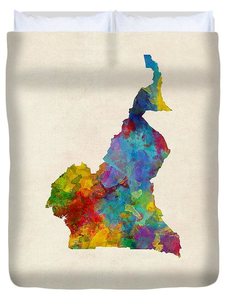 Duvet Cover featuring the digital art Cameroon Watercolor Map by Michael Tompsett