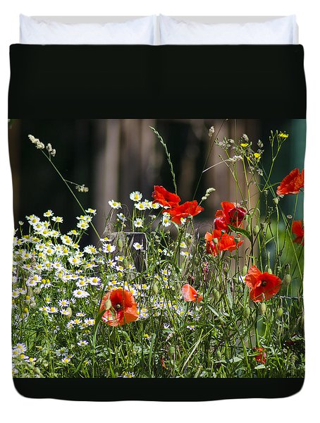 Camille And Poppies Duvet Cover